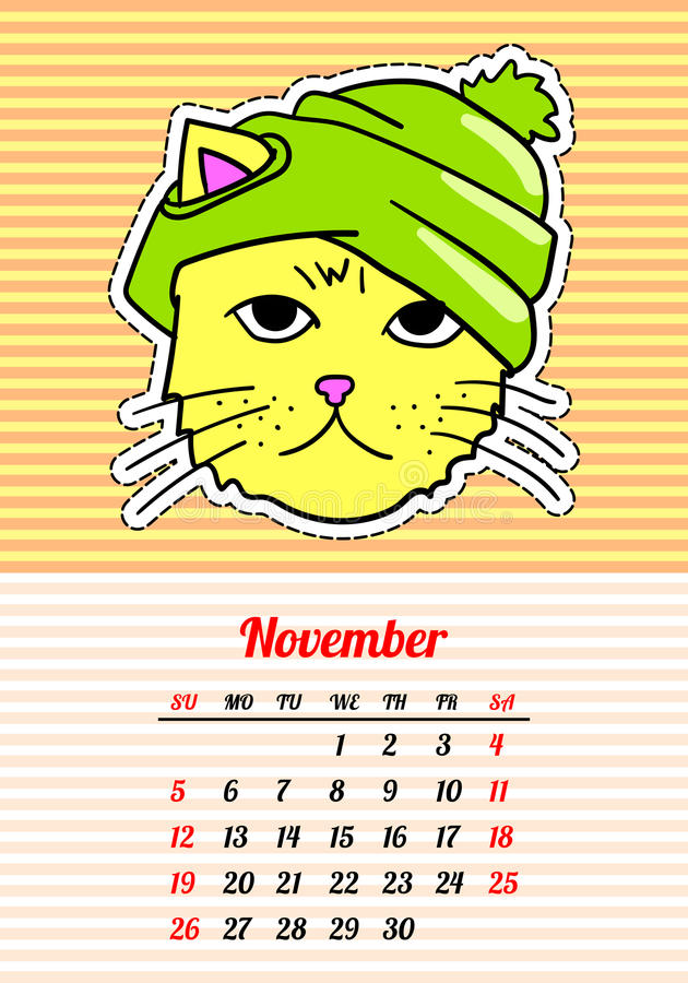 Calendar 2017 with cats. November. In cartoon 80s-90s comic style fashion patches, pins and stickers. Pop art vector royalty free illustration