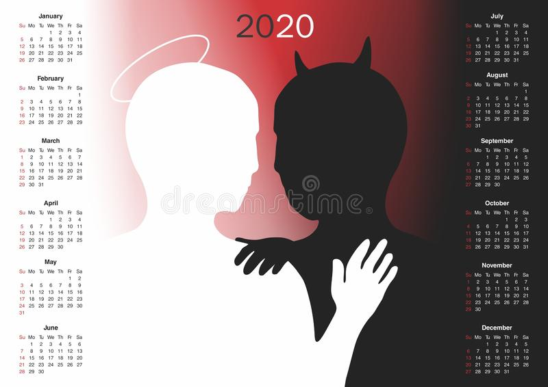 Calendar for 2020. CDR version is available too royalty free illustration