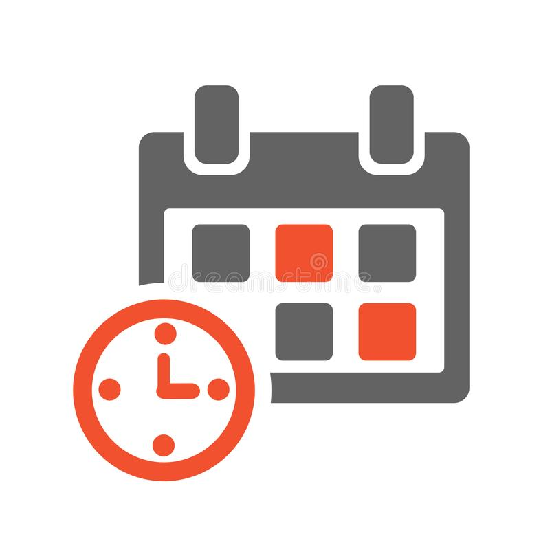 Calendar and clock. Gray and orange icon. Vector. Illustration vector illustration