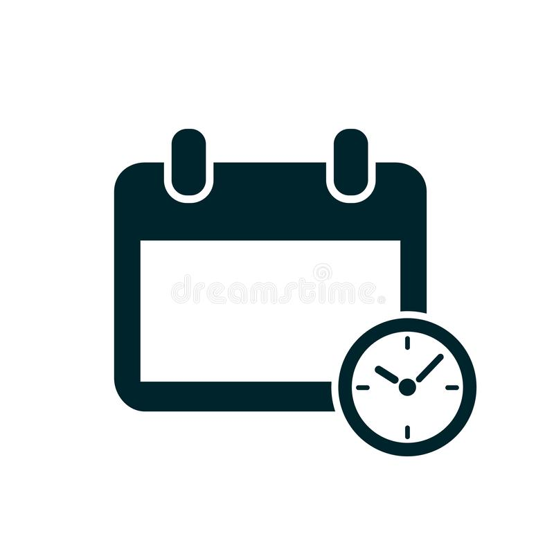 Calendar and clock icon. Schedule, reminder, time management, appointment, organizer, important date – stock vector. Calendar and clock icon. Schedule royalty free illustration