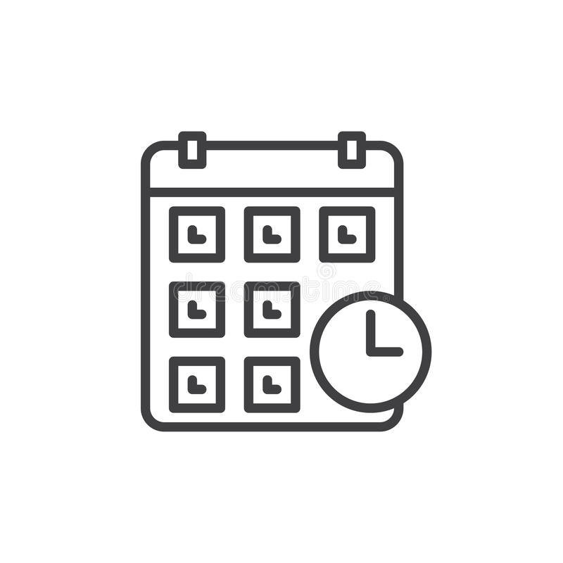 Calendar with clock line icon, outline vector sign, linear style pictogram isolated on white vector illustration