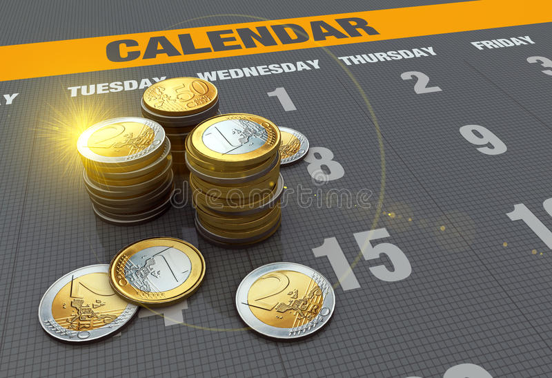 Calendar with coins royalty free illustration