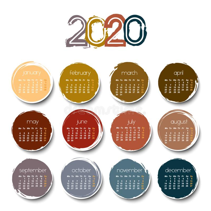 2020 calendar with color circle royalty free stock photo