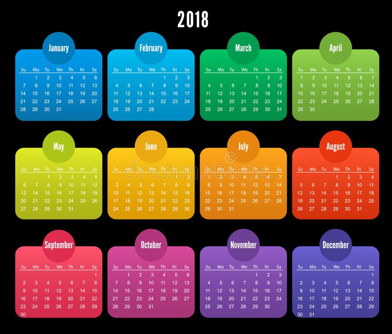 2018 Calendar Color Design On Black Background Stock Vector