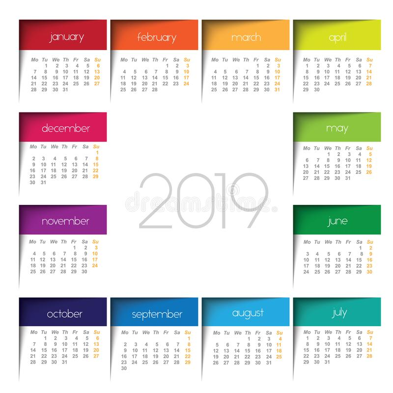 2019 calendar. Color post it royalty free illustration