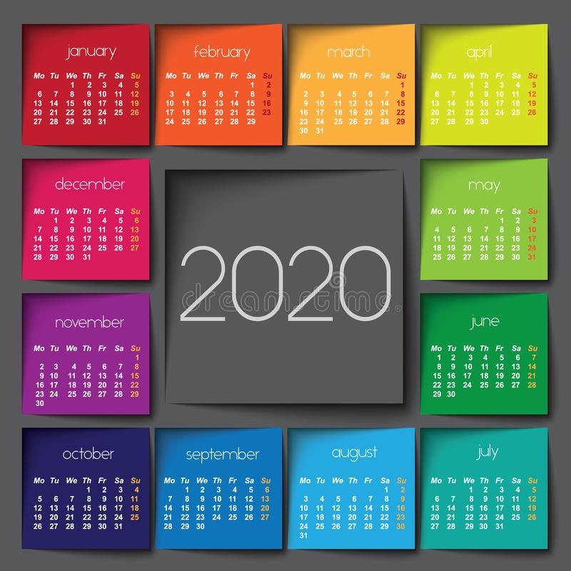 2020 calendar. Color post it. Squares royalty free illustration