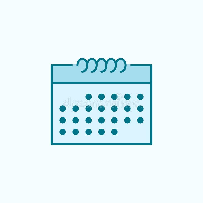 The calendar 2 colored line icon. Simple colored element illustration. the calendar outline symbol design from web icons set on. Blue background vector illustration
