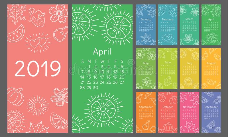Calendar 2019 colorful hand drawn sketch. Flower, heart, leaf, strawberry, watermelon, sun, snowflake, pumpkin, pear vector illustration