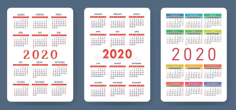 Calendar 2020. Colorful vector set. Pocket calender collection. Week starts on Sunday. Basic grid template for print vector illustration