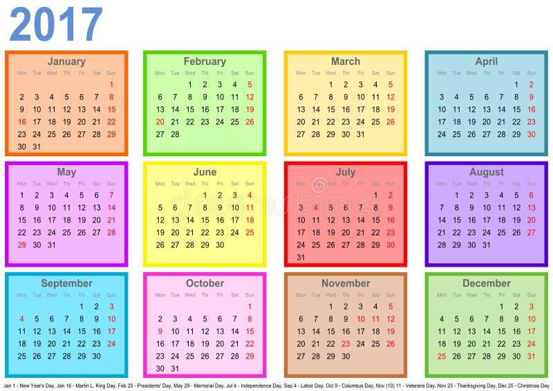 Calendar 2017 com campos coloridos pelo mês e os feriados EUA ilustração do vetor