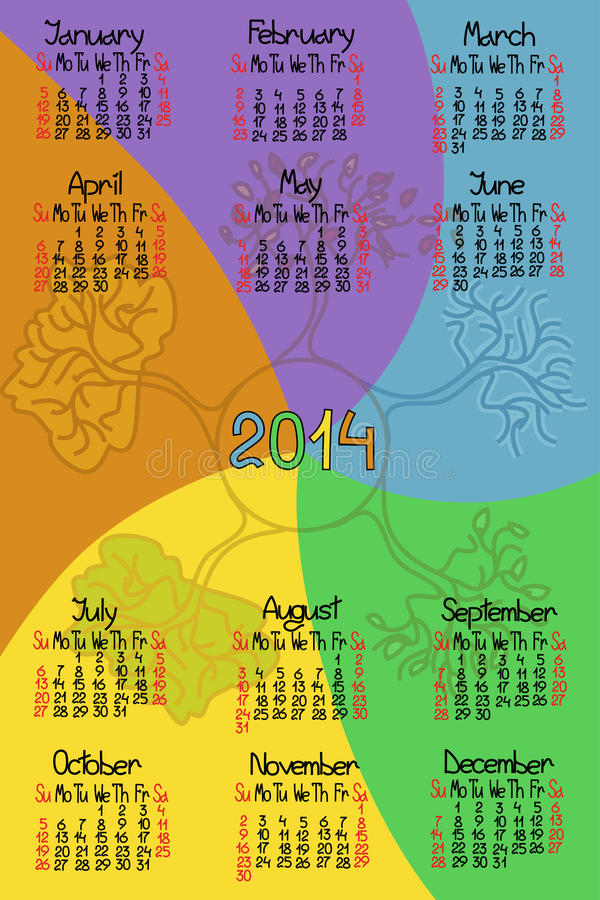 Download Calendar 2014 With Comic Handmade Font Stock Vector - Image: 32913416