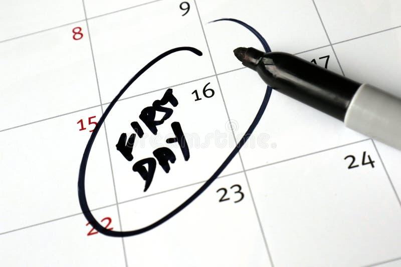 Calendar conceitos, primeiro dia do trabalho, escola, aposentadoria, etc. foto de stock