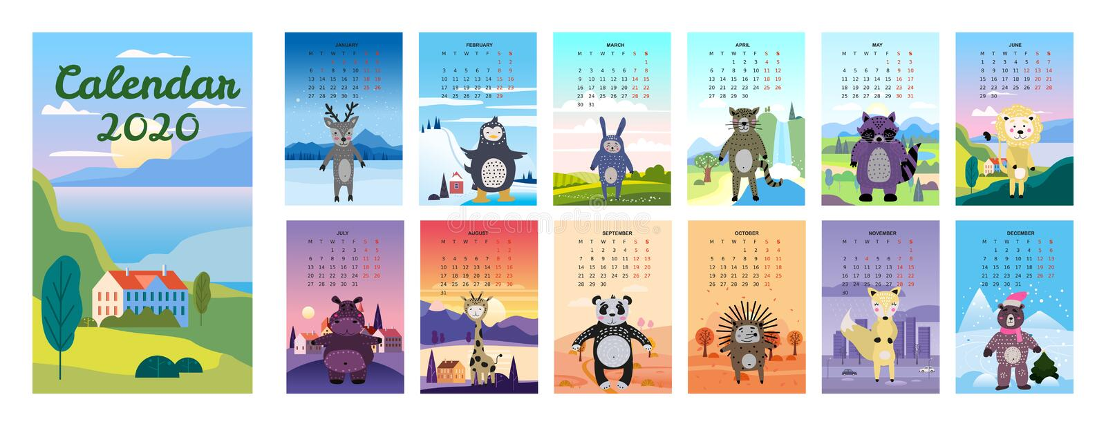 2020 Calendar Cute Animals Characters background landscapes minimal style. Monthly Vector illustration Isolated royalty free stock photography