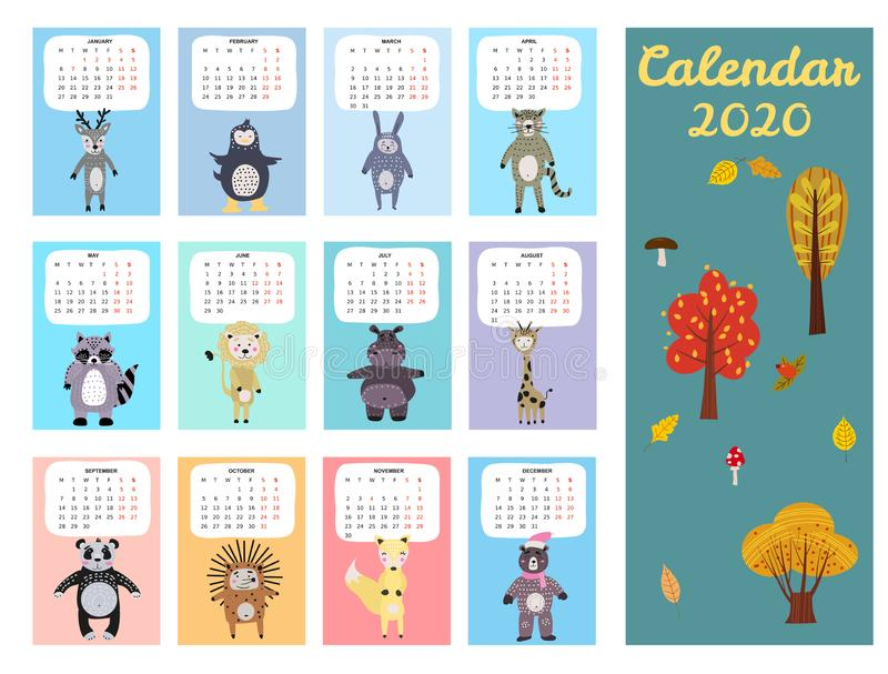 2020 Calendar Cute Animals Characters. Monthly Vector illustration Isolated Scandinavian Style stock photography