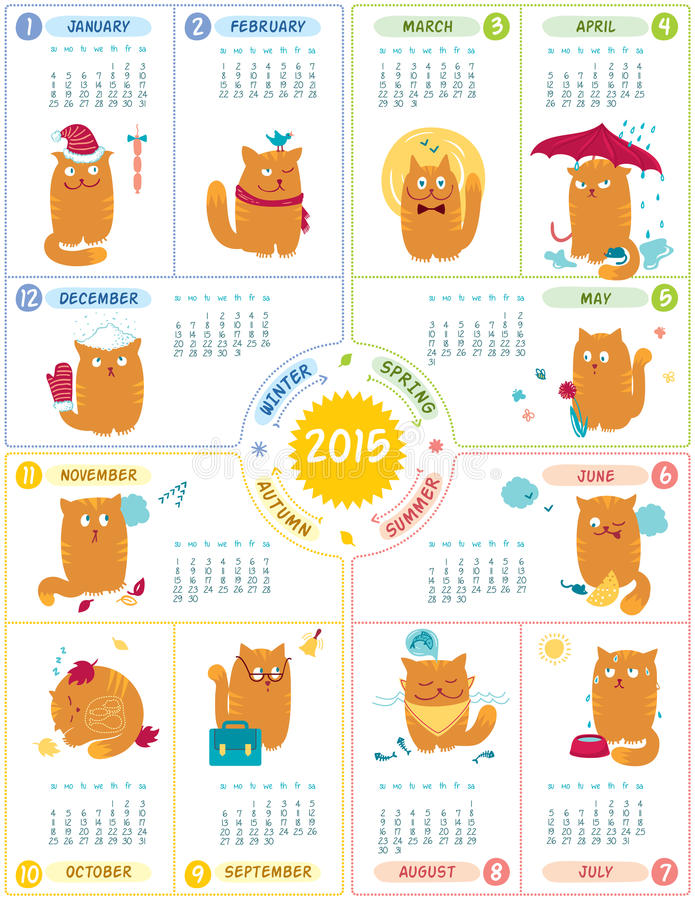 Calendar 2015 With Cute Cats. Vector calendar 2015 with cute personages on white backgroun stock illustration