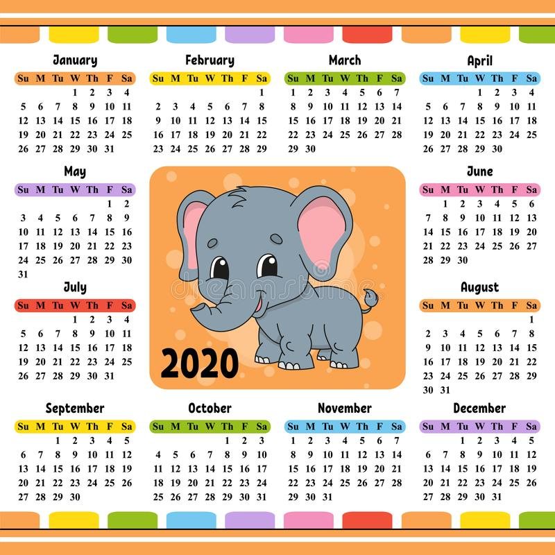 Calendar for 2020 with a cute character. Fun and bright design. Isolated vector illustration. Cartoon style. Elephant, zoology, trunk, african, wild, animal royalty free illustration