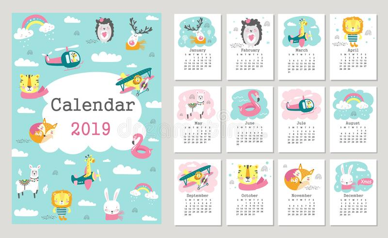 Calendar 2019 with cute forest animals. Hand drawn vector vector illustration