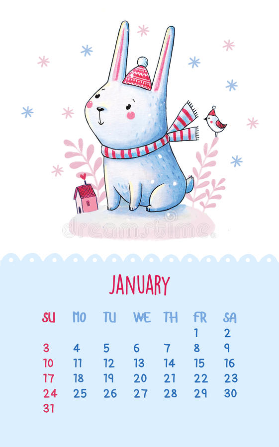 Calendar for 2016 with cute illustrations by hand. vector illustration
