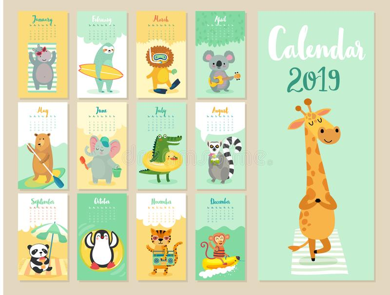 Calendar 2019. Cute monthly calendar with forest animals. vector illustration