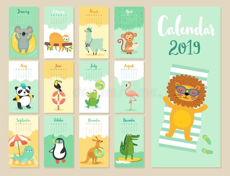 Calendar 2019. Cute monthly calendar with forest animals. Hand drawn style characters