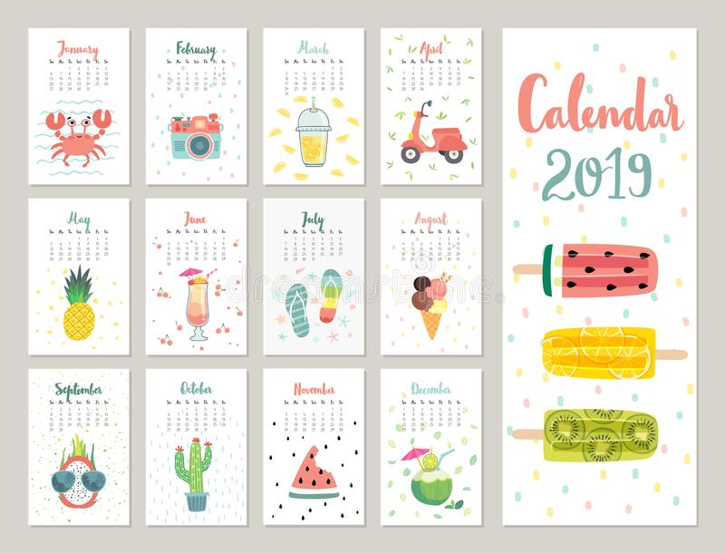 Calendar 2019. Cute monthly calendar with lifestyle objects, fruits, and plants. stock illustration