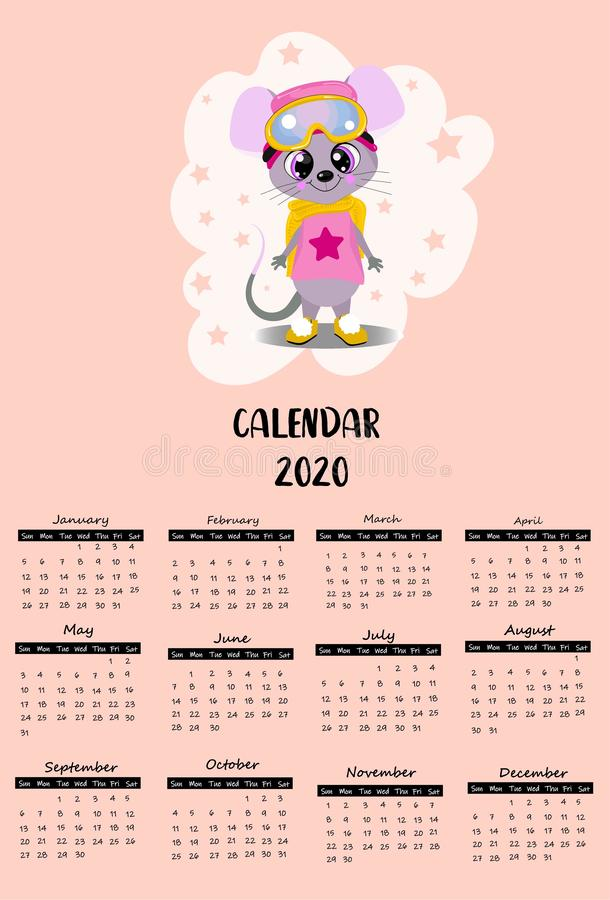 2020 calendar with cute mouse and rat - symbol of the year. Pink background. Kids poster stock image