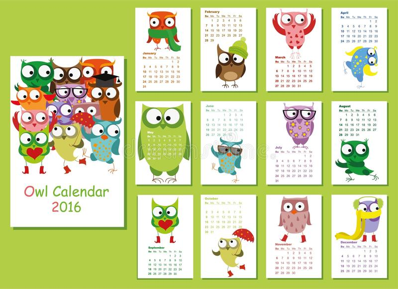 Cute Calendar Illustration : Calendar cute owls for every month vector stock