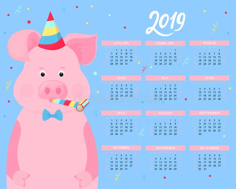 Calendar for 2019. Cute pig in a striped party hats and horn blowers. Funny animal. Chinese New Year royalty free illustration