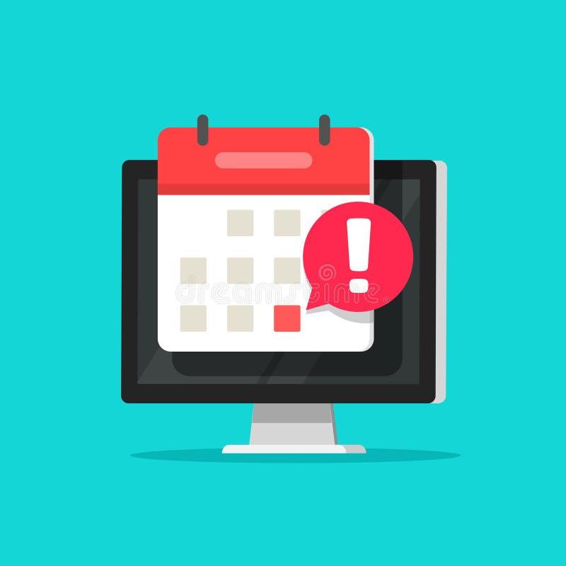 Calendar date alarm as deadline notification on computer screen vector symbol, flat cartoon event reminder scheduled on vector illustration
