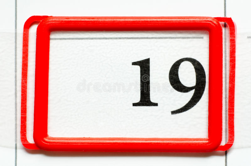 Calendar date. With number nineteen stock images