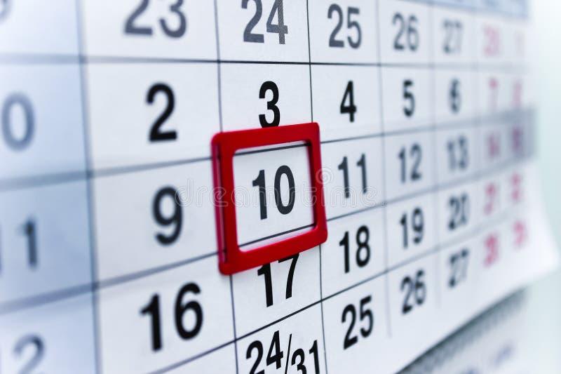 Calendar 10 royalty free stock image