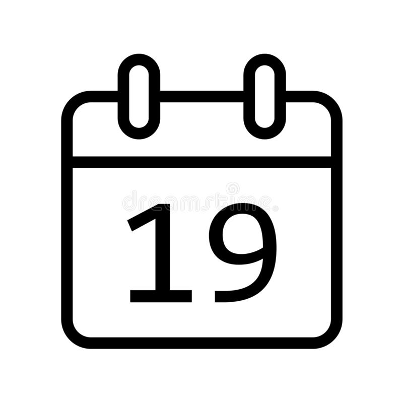 Calendar day nineteen date icon. Simple vector illustration of month calendar day nineteenth date icon on white background vector illustration