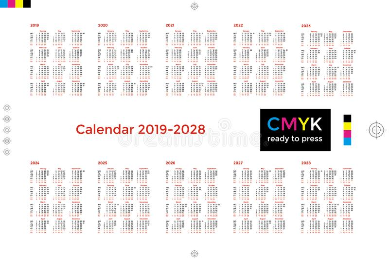 Calendar for decade 2019 2028 royalty free illustration