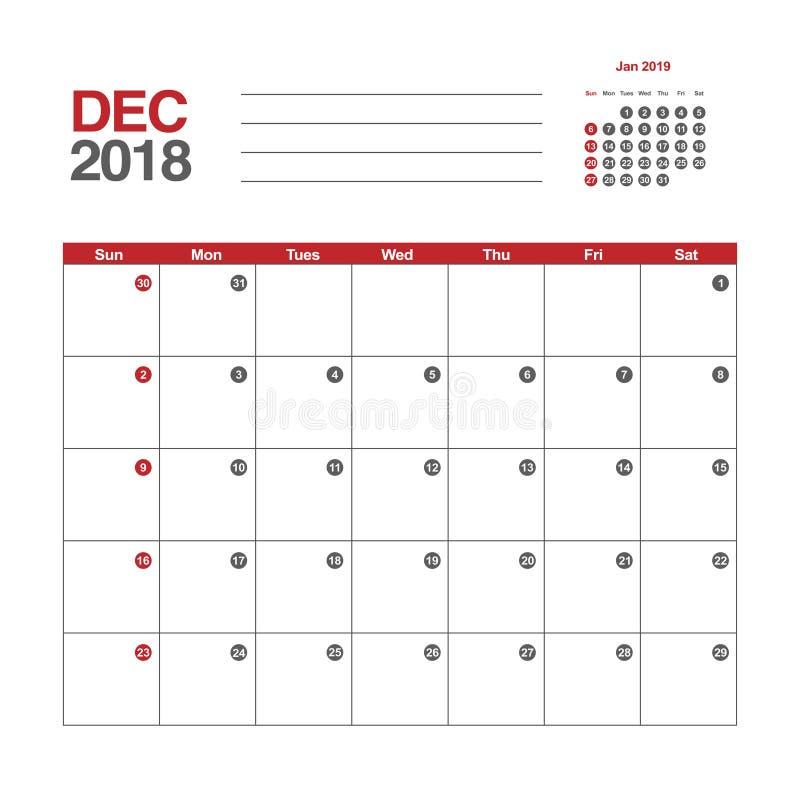Download Calendar for December 2018 stock vector. Illustration of design - 92929348