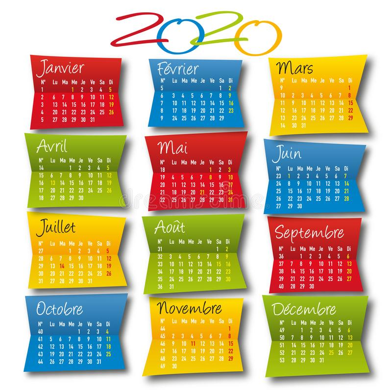 Calendar 2020 decorative and colorful, square format, with the holidays of France. vector illustration