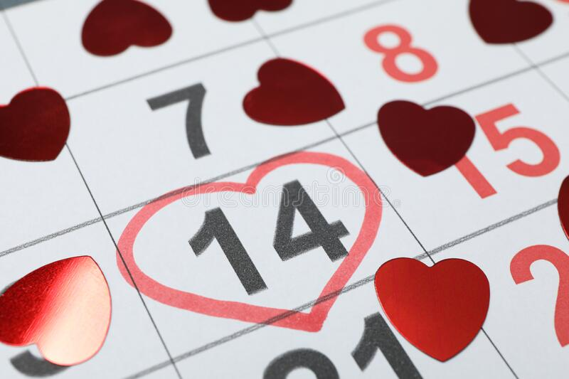 Calendar with decorative hearts. Valentines day. Close up stock image