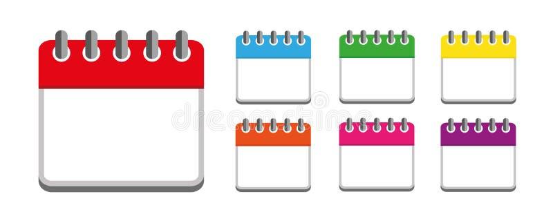 Calendar den färgrika uppsättningsymbolsveckan som isoleras på vit bakgrund stock illustrationer