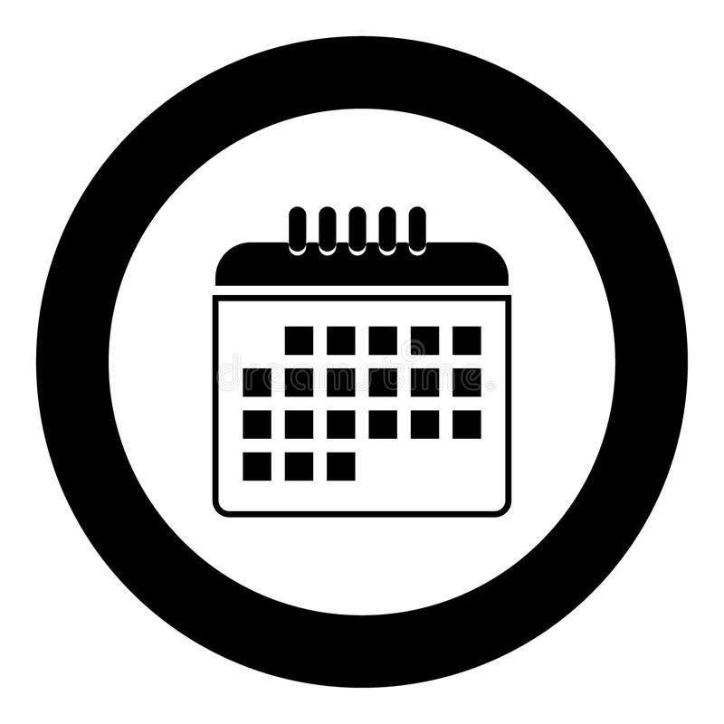 Calendar den svarta färgsymbolen i cirkel eller runda stock illustrationer