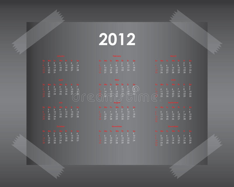 Calendar Design 2012 Royalty Free Stock Images