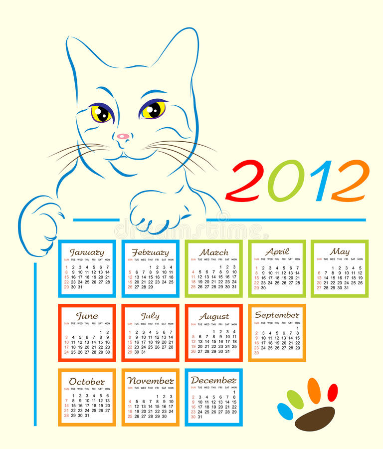 Download Calendar design 2012 stock vector. Image of freehand - 21232398