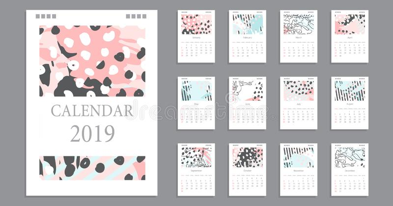 Calendar design creative art brash stroke stock illustration