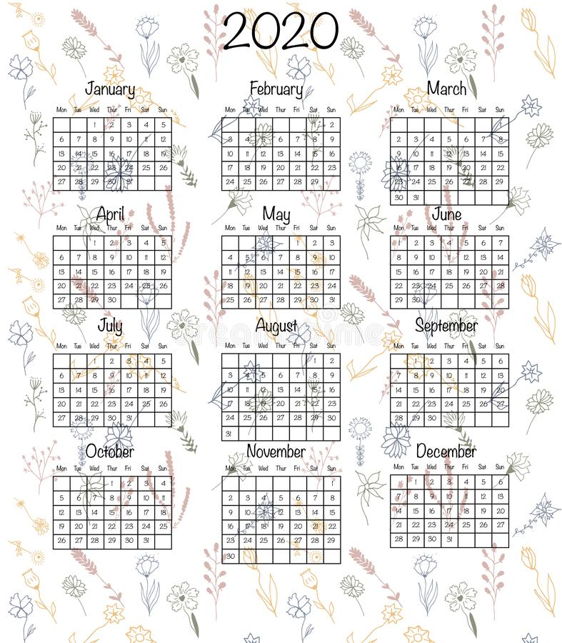 Calendar design for 2020 in minimal simple hand drawn floral style. Vector illustration print template isolated on white. Week sta. Rts from Monday vector illustration
