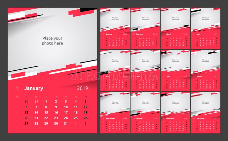 Calendar design for 2019. Set of 12 calendar pages vector design print template with place for photo. stock illustration