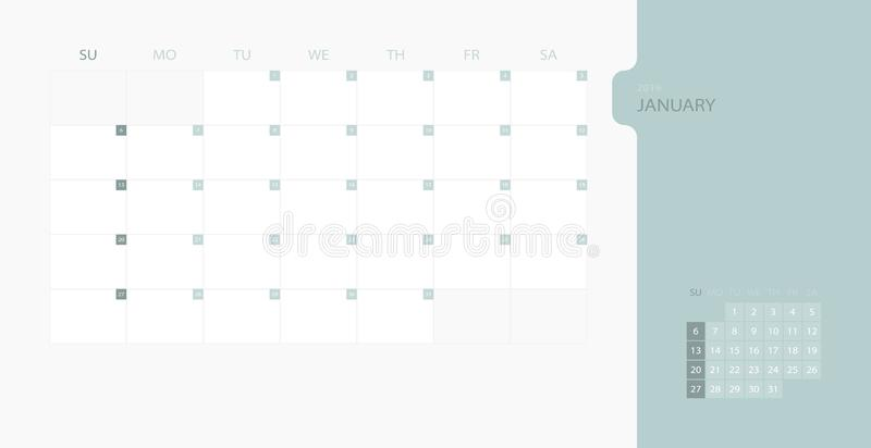 Calendar design template for 2019 Simple planner for January month, week starts on sunday. Design print template with place for lo vector illustration