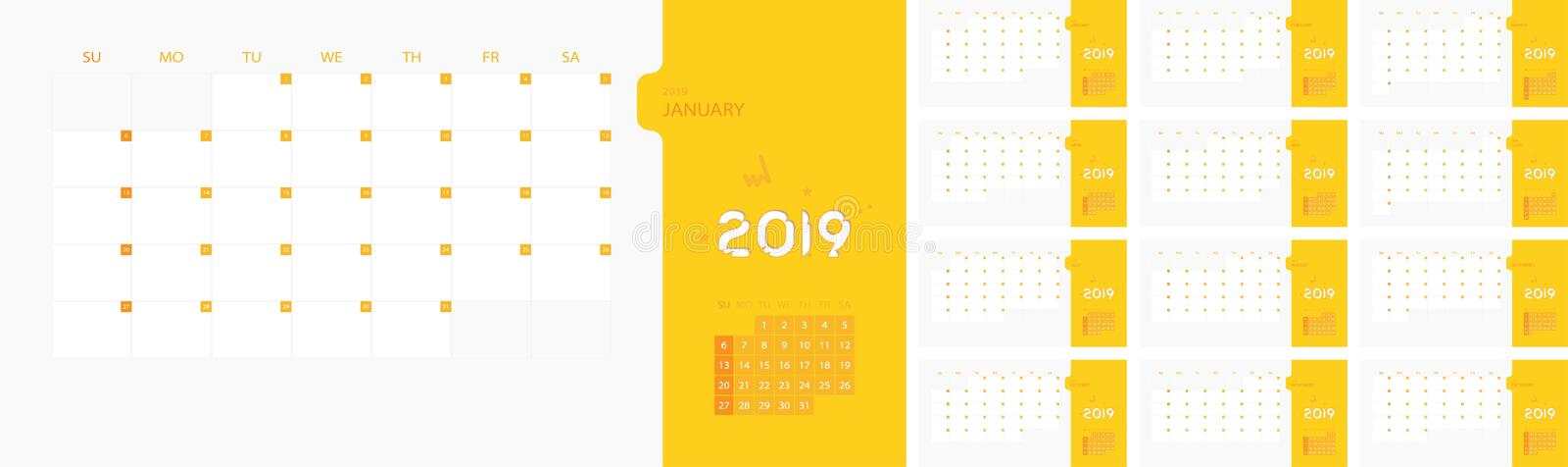 Calendar design template for 2019 Simple planner week starts on sunday. Design print template with place for logo company. Flat ve vector illustration