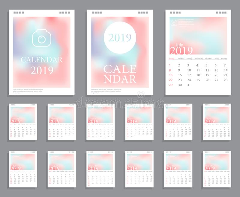 Calendar design 2019. Vector blurred calendar for 2019 year. Horizontal design template with place for photo and company Logo. Set of 12 calendar pages. Week vector illustration