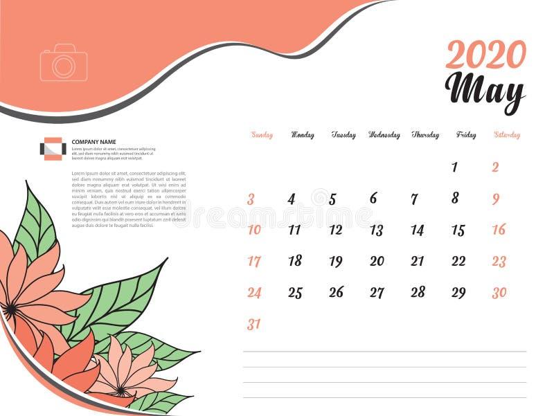 Calendar 2020 design Vector, Desk Calendar 2020 template, May, Orange flowers concept, Week Start On Sunday, Planner royalty free illustration