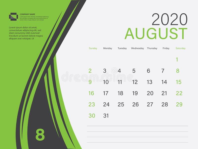 Calendar 2020 design Vector, Desk Calendar 2020 template, AUGUST, Green concept, Week Start On Sunday, Planner, Stationery 皇族释放例证
