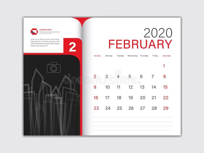 Calendar 2020 design Vector, Desk Calendar 2020 template, FEBRUARY, red concept, Week Start On Sunday, Planner, Stationery 库存例证
