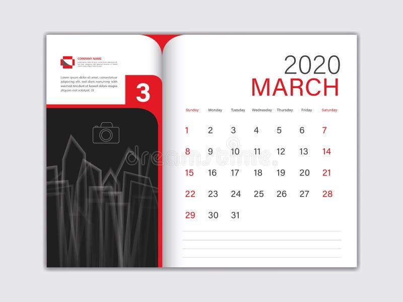 Calendar 2020 design Vector, Desk Calendar 2020 template, MARCH, red concept, Week Start On Sunday, Planner, Stationery, Printing 向量例证